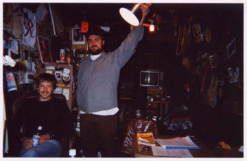 Drew and Kwab Burn burn burn headquarters 2002